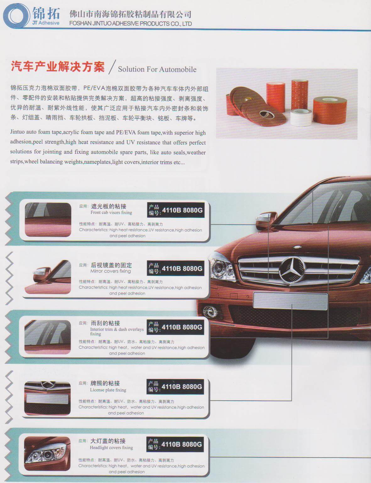Automobile and car adhesive tape solution | JT Adhesive Tape